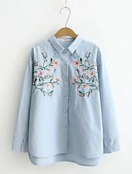 Для женщин На выход На каждый день Весна Осень Рубашка Рубашечный воротник,Секси Простое Уличный стиль Однотонный Цветочный принтДлинный