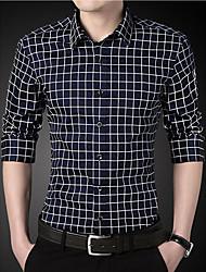 Going out Simple Spring Fall Shirt,Print Shirt Collar Long Sleeve Multi-color Cotton Medium