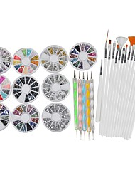 3D Nail Art Manicure Wheel Nail Rhinestones Decoration with Metal Studs 15Pcs Nail Art Brushes 5Pcs Double Side Dotting Tools