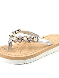 Women's Slippers & Flip-Flops Summer Light Soles PU Dress Casual Flat Heel Rhinestone Black Sliver Walking
