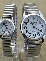 Couple's Wrist watch Quartz Stainless Steel Band Casual Silver Brand