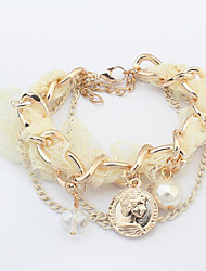 Bracelet Chain Bracelet Pearl Alloy Button Friendship Fashion Special Occasion Gift Jewelry Gift Beige Yellow Red,1pc