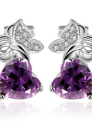 Stud Earrings Amethyst AAA Cubic Zirconia Crystal Zircon Cubic Zirconia Copper Gold Plated Luxury Jewelry Purple Jewelry Daily Casual1