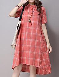 Feminino Solto Vestido,Casual Simples Estampado Colarinho Chinês Médio Manga Curta Azul Vermelho Algodão Verão Cintura MédiaSem