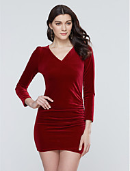 Women's Plus Size / Slim Sexy chic Bodycon DressSolid V Neck Mini Long Sleeve Blue / Red Polyester Fall Mid Rise Micro-elastic