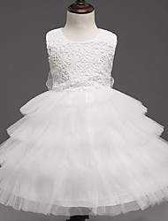 Ball Gown Knee-length Flower Girl Dress - Organza Sleeveless  Lace