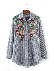 Women's Embroidery Going out Casual/Daily Simple Street chic Spring Fall Shirt,Embroidered V Neck Long Sleeve Cotton Medium