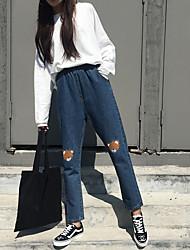 знак женщины зима корейской версии плюшевого мишку вышивки эластичной талия была тонкой талии брюки джинсы широкий песня halun