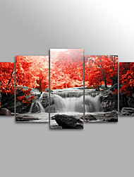 Canvas Print Landscape Floral/Botanical Modern Waterfall TreeFive Panels Canvas Horizontal Print Wall Decor For Home Decoration