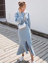 # 3 цвет хлопка костюм весной новый корейский сладкий сплошной цвет свитер + раскол Фиштейл юбки
