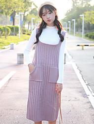 colpo reale! la nuova sezione lunga tracolla studente lana abito doppia tasca della versione coreana del vestito maglia oscura