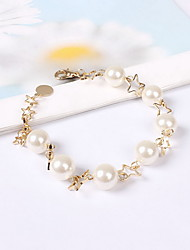 Chain Bracelet Pearl Imitation Pearl Acrylic Resin Wood Alloy Fashion Bohemian Star Jewelry Pink Jewelry 1pc