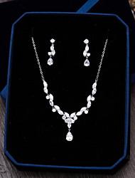 Gioielli 1 collana 1 paio di orecchini Zirconi Matrimonio Feste Occasioni speciali Quotidiano Casual Zirconi 1 Set Argento Regali di nozze
