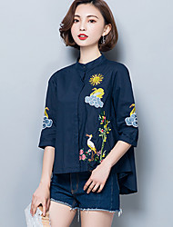 Women's Asymmetrical Plus Size Going out Simple Spring Summer Shirt,Embroidered Stand ¾ Sleeve Cotton Polyester Medium