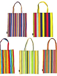 RayLineDo® Pack of 5 Eco-Friendly Resuable Large Multi Color Bohemia Canvas DIY Carry-All Tote Bag Lunch & Grocery Shopping Bags 19x16 Inches Stripe