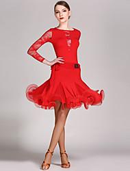 Baile Latino Accesorios Mujer Representación Encaje Viscosa Volantes 2 Piezas Mangas largas Cintura Media Leotardo Falda