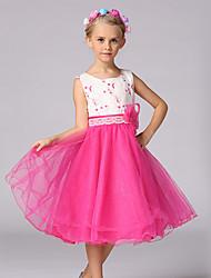 Princesa Até os Joelhos Vestido para Meninas das Flores - Algodão Organza Poliéster Decorado com Bijuteria com Bordado