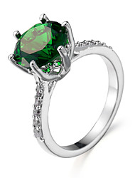 Ring Emerald Zircon Cubic Zirconia Steel White Green Blue Jewelry Daily 1pc