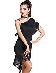 Latin Dance Dresses Women's Performance Milk Fiber Tassel(s) 2 Pieces Short Sleeve High Dress Shorts