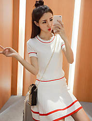 Mujer Adorable Casual/Diario Verano T-Shirt Falda Trajes,Escote Redondo Un Color A Rayas Manga Corta Algodón Regular