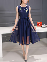 Women's Slim A Line Dress Patchwork Bow Mesh Round Neck Knee-length Sleeveless  Blue Red Summer Mid Rise
