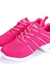 Women's Dance Shoes Fabric Fabric Dance Sneakers / Modern Sneakers Low Heel Outdoor Black/White/Fuchsia