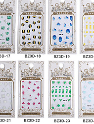 8PCS BZ 3D Nail art Gem Paragraph Bring Back Glue Directly Stick Nail Stickers