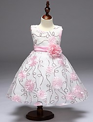 Ball Gown Knee-length Flower Girl Dress - Organza Jewel with Flower(s) Sequins
