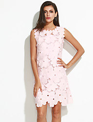 Women's Plus Size / Going out Sophisticated Lace DressJacquard Round Neck Above Knee Sleeveless Pink / White