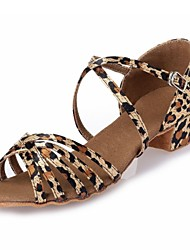 Kids' Dance Shoes Latin shoes Leopard satin L49
