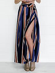 Feminino Perna larga Chinos Calças-Listrado Casual Happy-Hour Moda de Rua Simples Com Fenda Chifon Cintura Alta Com Cordão Poliéster