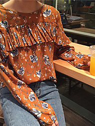 Sign spring Korean temperament lace floral shirt loose long-sleeved shirt shirt blouse students