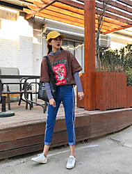 Sign sporty new Korean female student waist straight jeans trousers tide burr