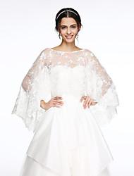 Wraps Wedding Mantelline Senza maniche Pizzo Avorio / Bianco Matrimonio / Da sera Ovale Con applicazioni Chiusura nascosta
