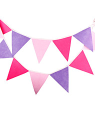 2.8m 12 Flags Pink Banner Pennant Nonwoven Fabric Bunting Banner Booth Props Photobooth Birthday Wedding Party Decoration