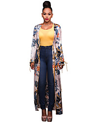 Casual/Daily Beach Holiday Sexy Boho Cloak/Capes,Print Round Neck Long Sleeve Summer Fall Machine wash Polyester Long