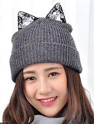 mulheres rendas strass bonito orelhas de gato lã marca cap jornaleiro rodada tricô ski