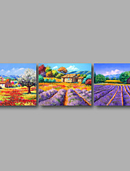 Stretched Canvas Print Three Panels Canvas Wall Decor Home Decoration Abstract Modern Purple Lavender