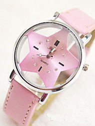 Fashion Watch Quartz Leather Band Charm Casual Black White Pink