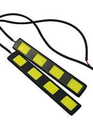 1 Pair Car Styling Waterproof COB Chip LED DRL Daytime Running Lights White DC12V Fog Driving Head lamp