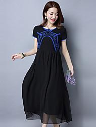 2017 женщин&# 39, S оригинальный национальный ветер кнопки вышивка пластина облака разъеденный шифона платье
