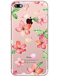 Pour Transparente Motif Coque Coque Arrière Coque Fleur Flexible PUT pour AppleiPhone 7 Plus iPhone 7 iPhone 6s Plus iPhone 6 Plus iPhone