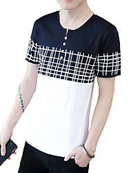 Hombre Simple Chic de Calle Activo Casual/Diario Playa Tallas Grandes Verano Camiseta,Escote Redondo Un Color A Rayas Manga Corta Algodón