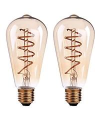 4W B22 E26/E27 Ampoules à Filament LED ST64 4 COB 400 lm Blanc Chaud Gradable AC 100-240 AC 110-130 V 2 pièces