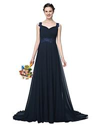 2017 Lanting Bride® Floor-length Chiffon Elegant Bridesmaid Dress - A-line Straps with Appliques Beading Pleats