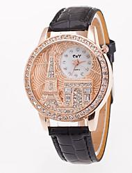 Mulheres Relógio Esportivo Relógio Elegante Relógio de Moda Simulado Diamante Relógio Relógio de Pulso Quartzo Mostrador Grande Couro