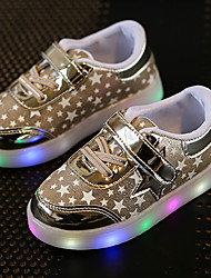 Kids Boys Girl's Sneakers Spring Summer Fall First Walkers Leather Outdoor Sport Glowing Shoes Casual Low Heel LED Pink Silver Gold Walking