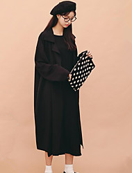 Women's Casual/Daily Simple Spring Fall Trench Coat,Solid Cowl Long Sleeve Long Polyester
