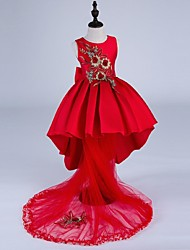 Ball Gown Asymmetrical Flower Girl Dress - Satin Jewel with Embroidery