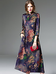 Women's Going out Vintage A Line Dress,Floral Stand Midi ¾ Sleeve Silk Spring Summer Mid Rise Micro-elastic Medium